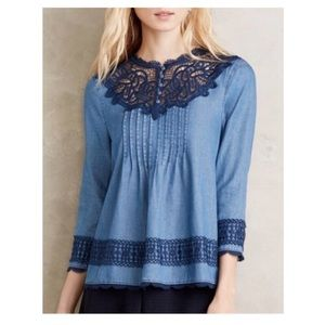 Anthropologie Laced Chambray Top Linen Blend